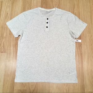 NWT Old Navy Speckled White Henley Button Tee